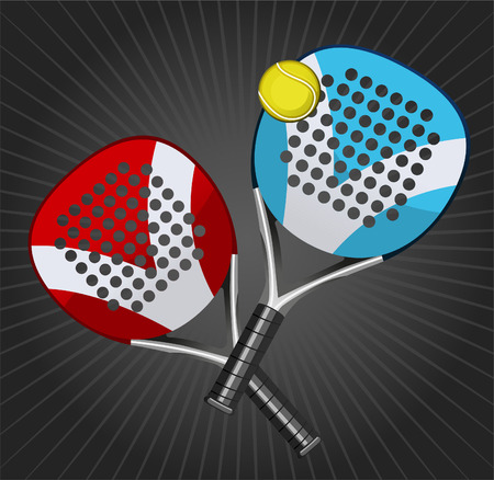 Paddle Match Rackets and Ball Set vector illustration. Иллюстрация