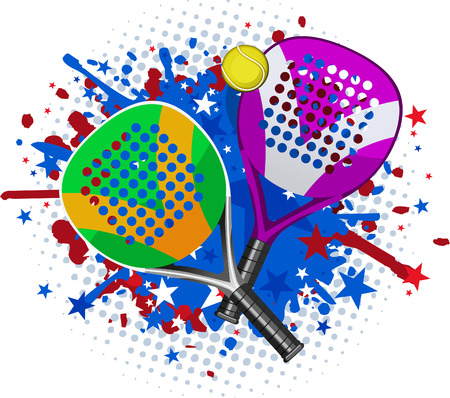 Paddle Match Rackets and Ball Set With red blue splash vector illustration. Illustration