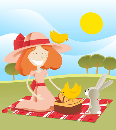 pink dress: Little girl having a picnic with a rabbit bunny and birds, dressed in a pink dress and hat with a red ribbon. Holding a cute basket with food vector illustration. Illustration