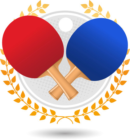 backhand: Table tennis laurel wreath with red and blue rackets and white ball vector illustration.