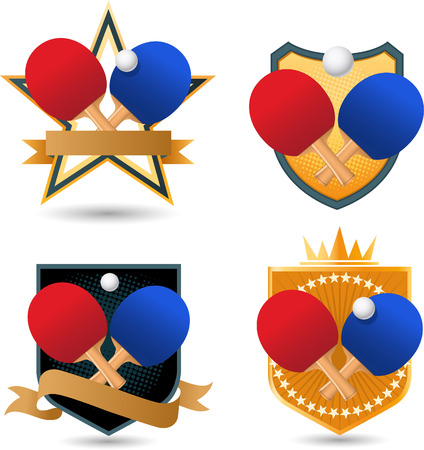 Table tennis Gold Emblem with rackets and ball crown star shape vector illustration.