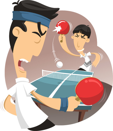 Table tennis match vector cartoon illustration