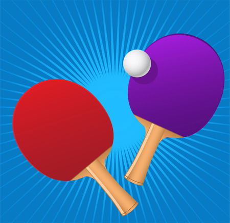 Ping pong red and blue rackets with game ball vector illustration. Иллюстрация