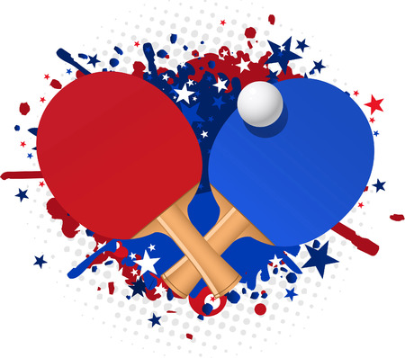 Table tennis red and blue racket splash with ball and stars vector illustration.