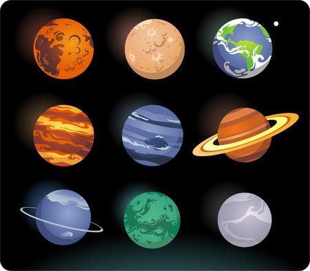 Solar system cartoon planets Illusztráció