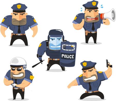 Agente de policía Cop Establecer ilustración vectorial, con el oficial en cinco situaciones diferentes como, frente vista oficial de policía de pie, hablando por el megáfono, con casco, arma de la policía y la policía con equipo de protección.