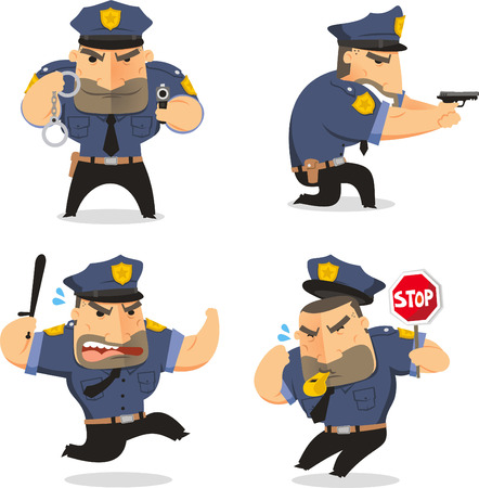 safety officer: Police Officer Cop Set vector illustration, with officer in five different situations like whistling cop with stop sign, running cop, side view with gun police officer and police handcuffs.