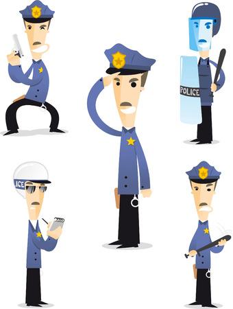 gorra policía: Policía colección de dibujos animados 1. Vectores