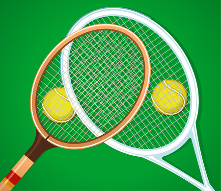 Old and modern tennis rackets on grass with two balls vector illustration. Vettoriali