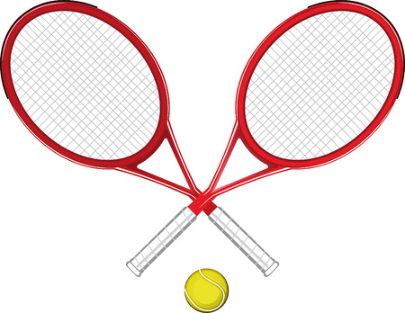 Two Tennis rackets with yellow ball sports equipment symbols vector illustration. Ilustração