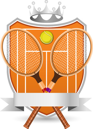 crowned: Sport Tennis Field with racket and ball silver crowned Emblem vector illustration.