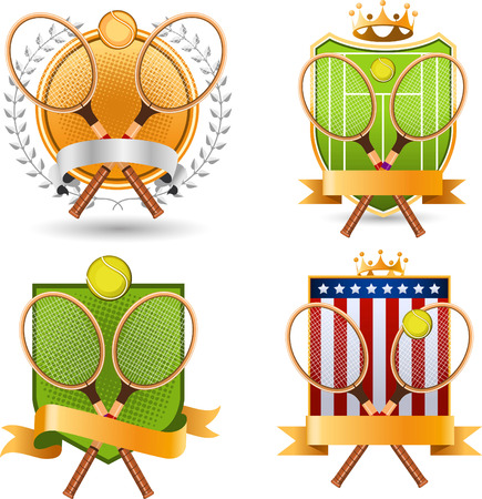 backhand: Sport Tennis racket ball emblem with crown and Star shape, banner vector illustration.