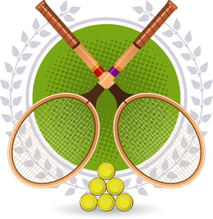 Retro Tennis Emblem Set with rackets and laurel wreath vector illustration.