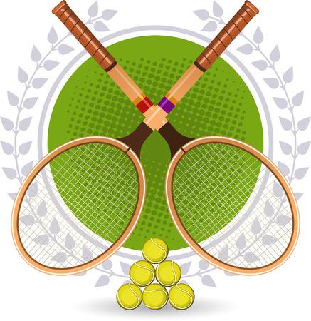 Retro Tennis Emblem Set with rackets and laurel wreath vector illustration.