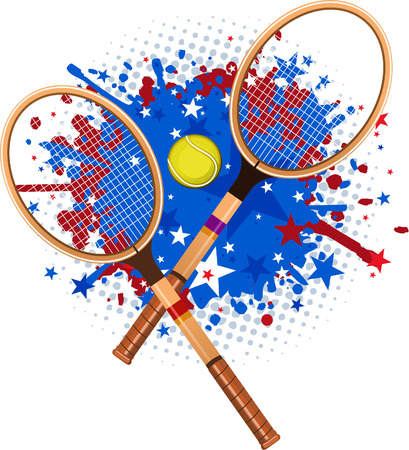 Retro tennis rackets with ball and red blue splash vector illustration. Ilustração