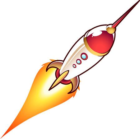 Space rocket cartoon illustration Illustration