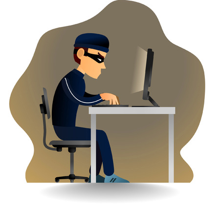 criminal activity: robber is hacking a system or robbing a password. Illustration