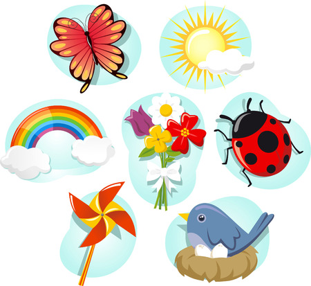 Spring elements cartoon icon set Vector