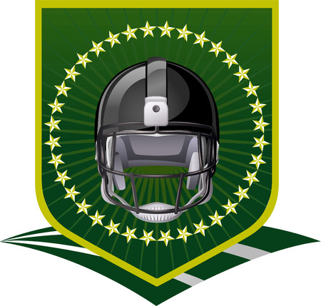 football Shield green field Vector