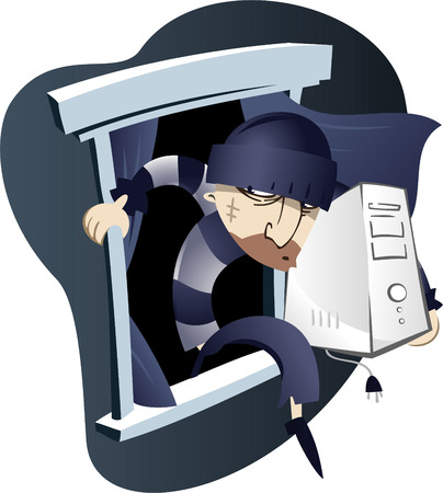 criminal activity: Computer thief coming out of a window. Illustration