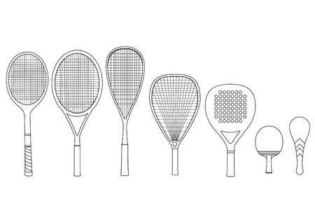 hard court: Silhouette rackets, with tennis racket, squash racket, ping pong racket, paddle racket. Vector illustration set.