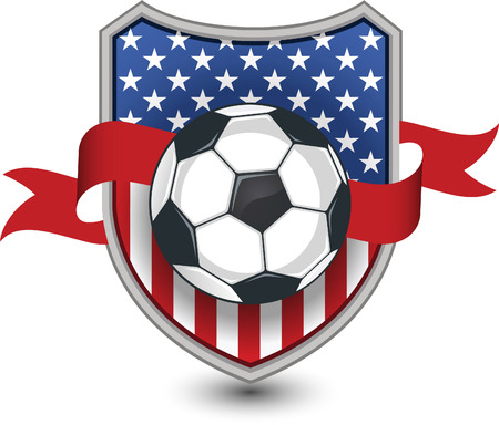 floodlit: American Soccer Football Emblem Shield vector illustration.