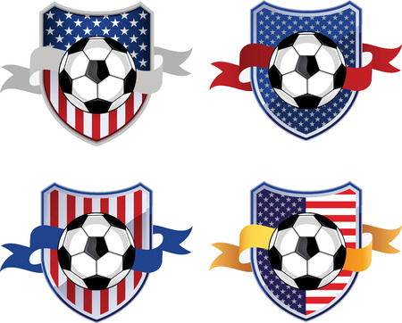 floodlit: American Soccer Football Emblem, with American flag motive and star shape vector illustration cartoon. Illustration