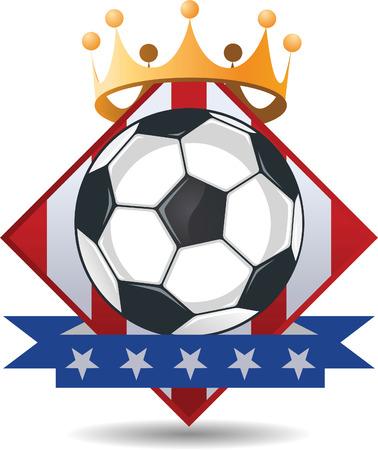 American Soccer Football Crown Banner vector illustration. Vector