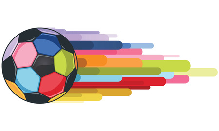 American Football colorful ball vector illustration. Violet, blue, pink, orange, green, light blue, red, orange and yellow. Vector