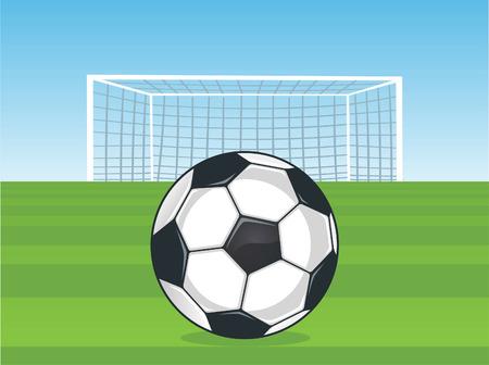 Soccer penalty kick field ball Vector