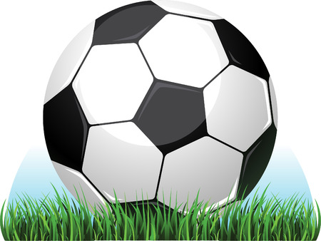 Soccer football ball on grass field vector illustration. Vector