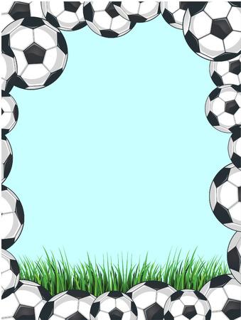 Soccer balls background frame Vector