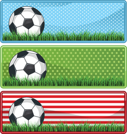 bannière football: Soccer Football bannière fixe avec trois grands motifs différents, avec des étoiles, des points et drapeau américain motif illustration vectorielle.