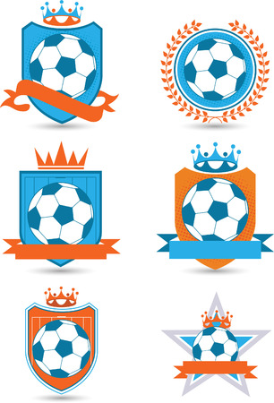 Soccer football emblems vector illustration. With six different emblems some with banner space and crowns. Vector
