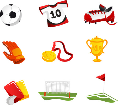 soccer field: Soccer Icons with Football ball, football Shirt, football Shoes, goalkeeper Gloves, Cup, medal, Trophy, Field, red and yellow cards, corner. Vector illustration cartoon. Illustration