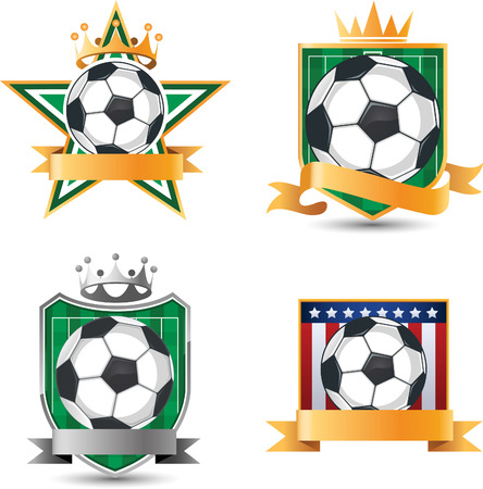 floodlit: Soccer football emblems with banner space vector cartoon. Illustration