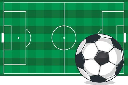 Soccer field and ball illustration Vector