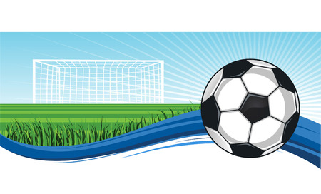 floodlit: Soccer Football Field with ball up to score vector illustration.