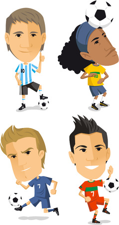 little league: soccer player set cartoon vector illustrations