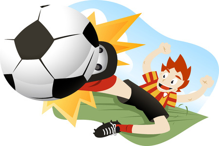 cleats: A soccer player tackling the ball.