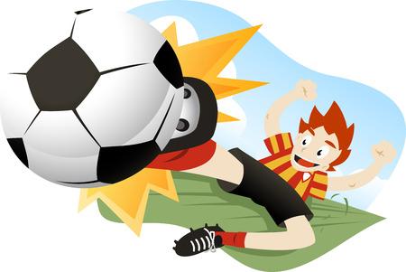 tackling: A soccer player tackling the ball.