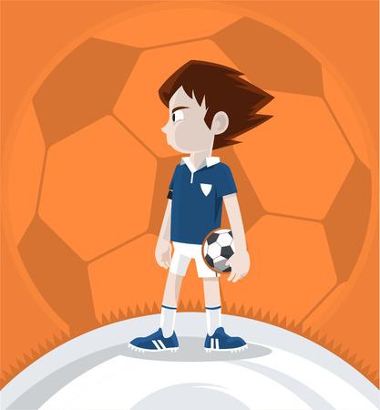 teamleider: Soccer Team Leader Jongen staan en met een voetbal bal. Vector illustratie cartoon.