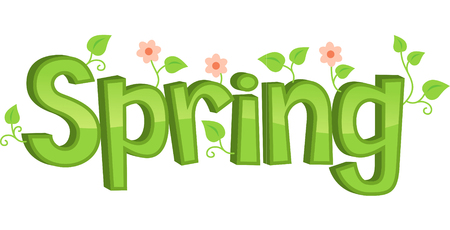 revivalism: Spring flowers banner, vector illustration cartoon.