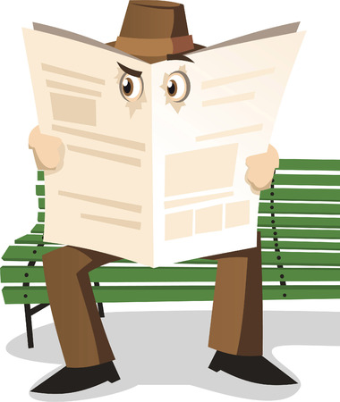 Detective Private investigator spying through newspaper, vector illustration cartoon. Иллюстрация