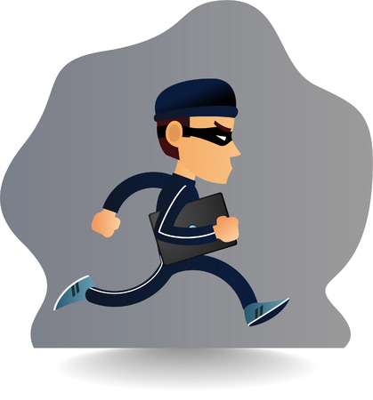 burglar man: robber is running away with a laptop computer.