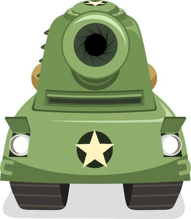 tanque de guerra: Tanque de Guerra Apuntar Vista de frente, ilustraci�n vectorial de dibujos animados.