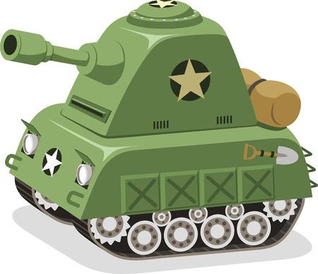 tanque de guerra: Las fuerzas militares tanque de guerra, ilustraci�n vectorial de dibujos animados.