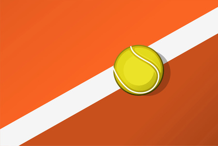 backhand: Tennis ball on tennis court line layout. Vector illustration. Illustration
