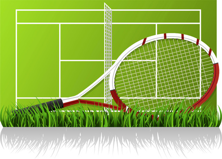 backhand: Tennis racket in front of a tennis court layout. Large JPG included, vector illustration.