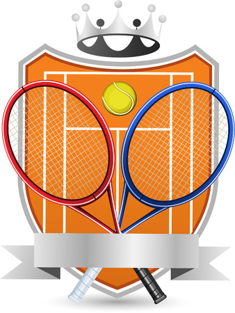 crowned: Sport Tennis Field with racket and ball crowned Emblem vector illustration.